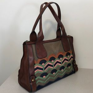 FOSSIL LEATHER, CANVAS EMBROIDERED TOTE MULTI